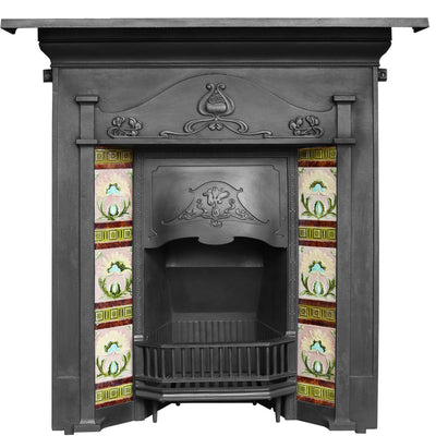 Antique Art Nouveau Tiled Combination Fireplace - The Architectural Forum