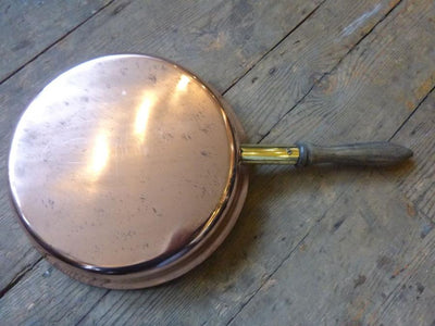 Antique Copper and Brass Frying Pan - architectural-forum