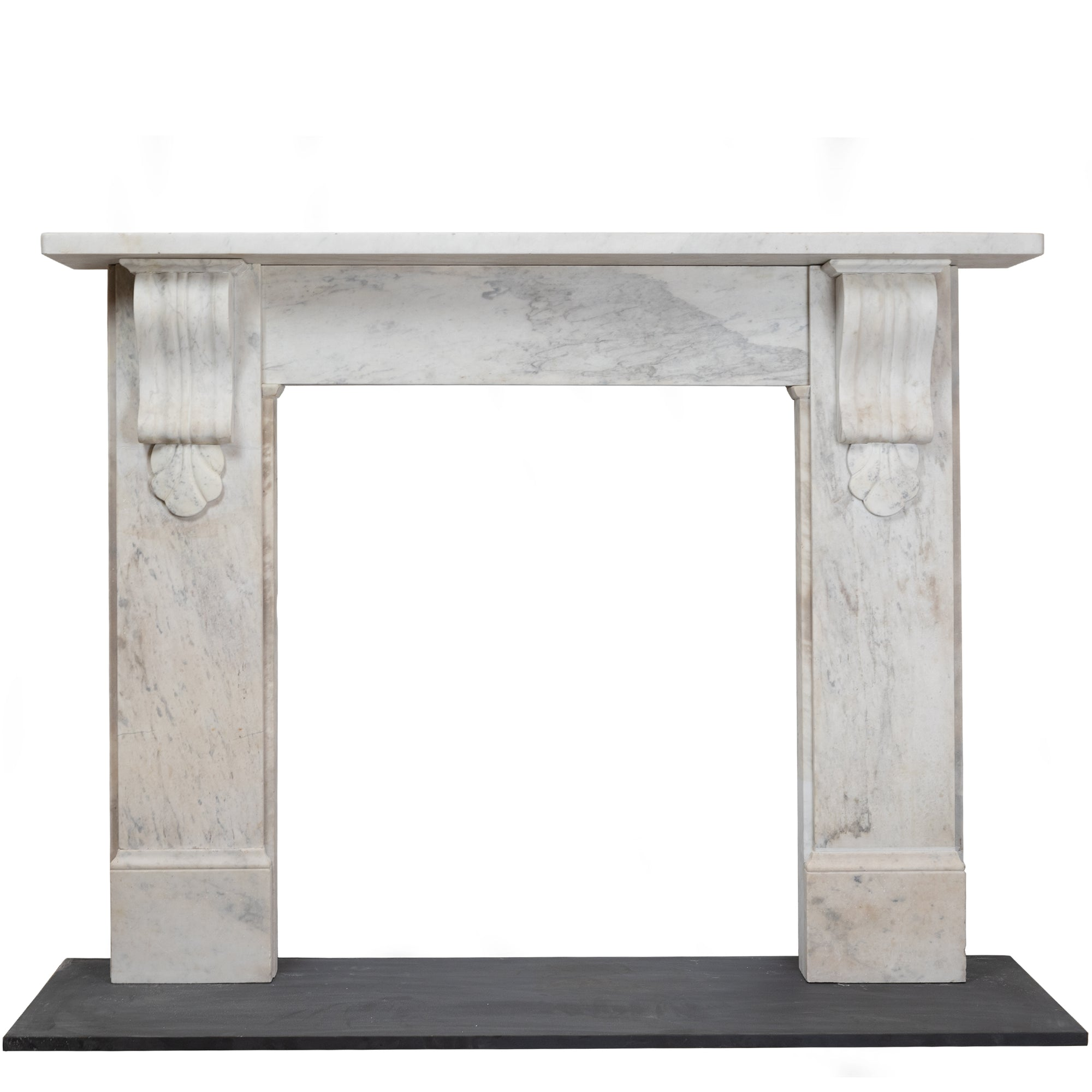Antique Victorian Carrara Marble Corbel Fireplace Surround