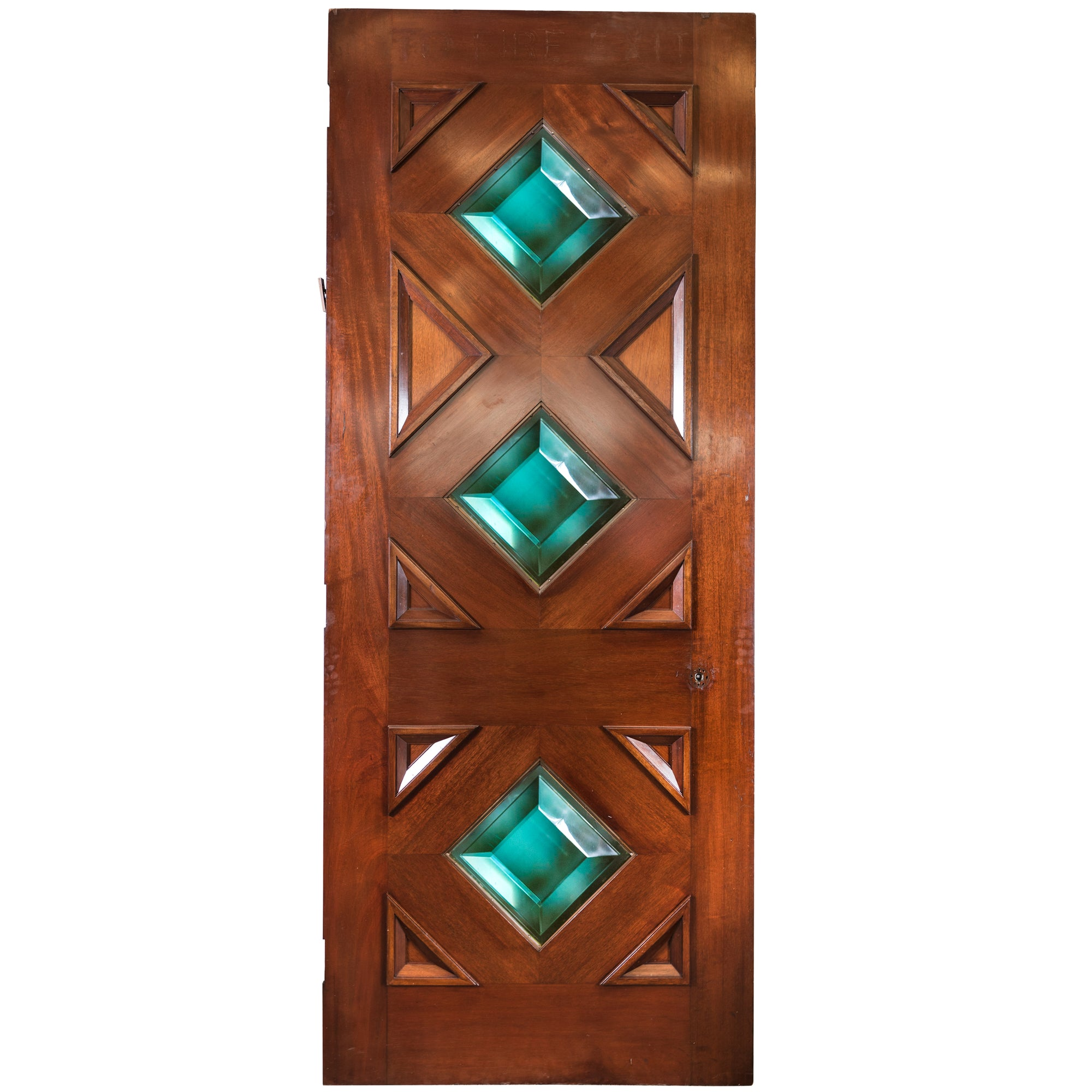 Reclaimed Solid Mahogany Door with Diamond Glazing