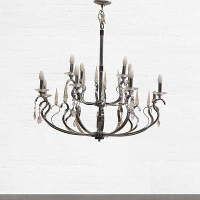 Chrome and Cut Glass Chandelier - architectural-forum