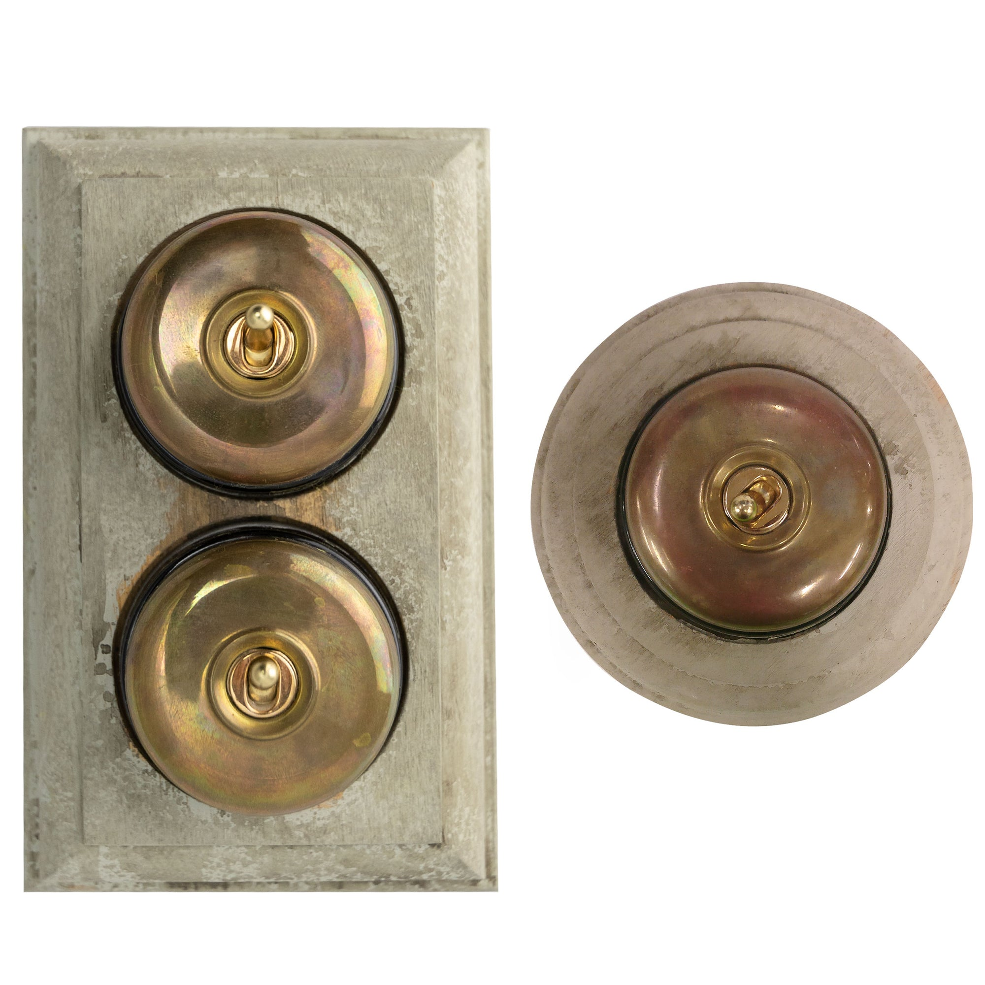 Reclaimed Art Deco Brass Dolly Light Switches - architectural-forum