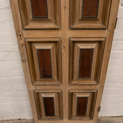 Reclaimed Panelled Pine Door With Stud and Hide Details 181cm x 60.7cm - architectural-forum
