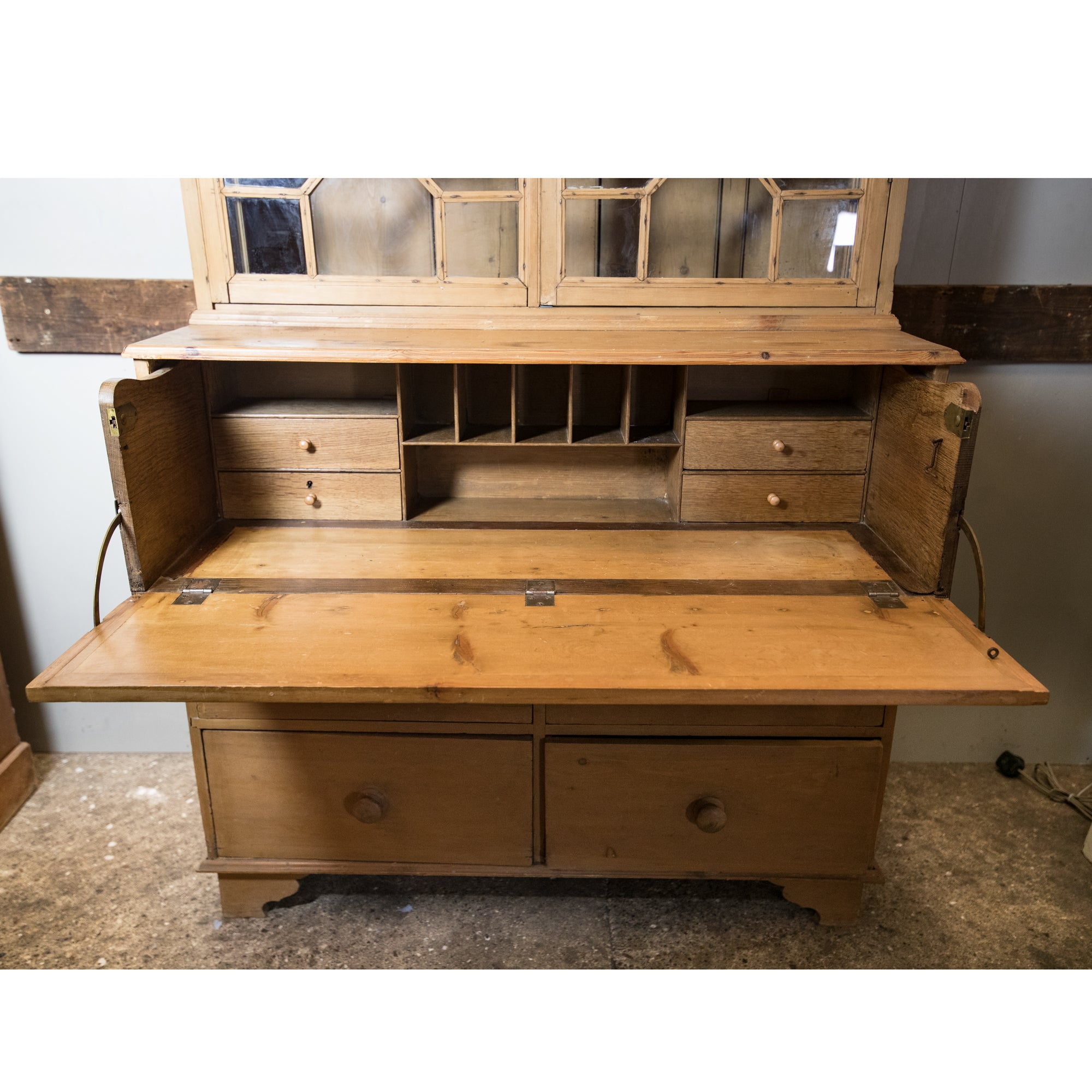 Antique Georgian Pine Dresser / Secretaire with Astral Glazing | The Architectural Forum