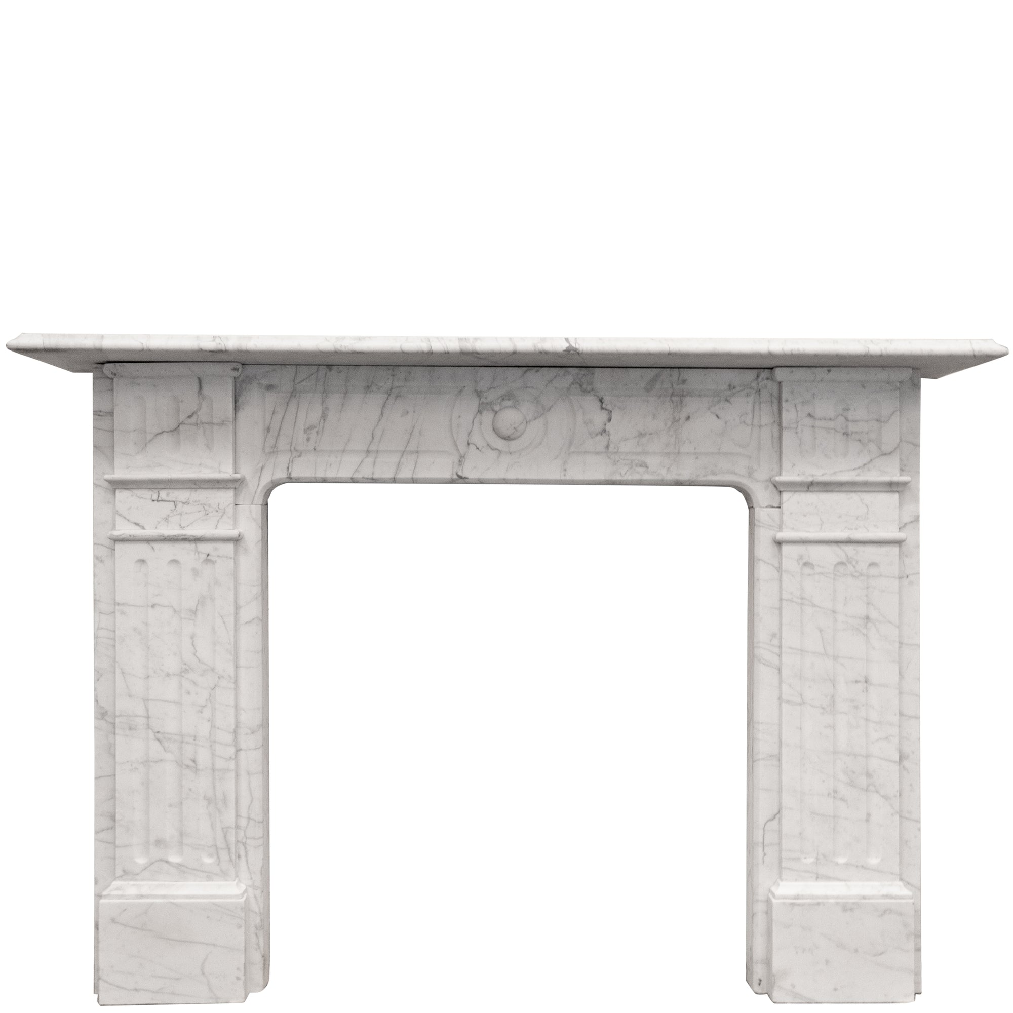 Antique Edwardian Carrara Marble Fireplace Surround