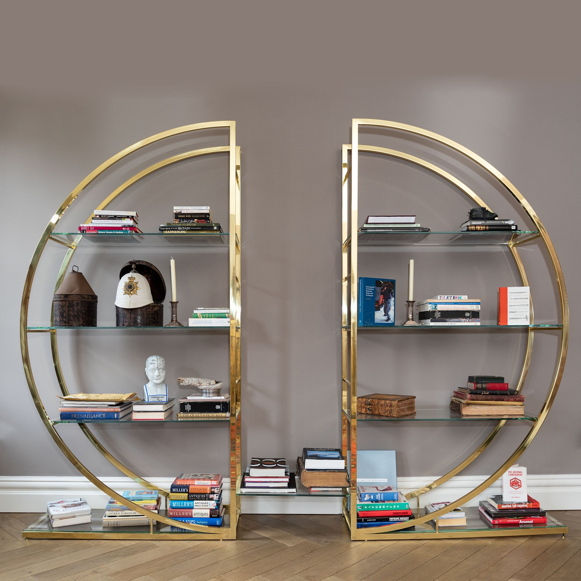 Reclaimed Mid-Century Brass Etagere Shelving Unit