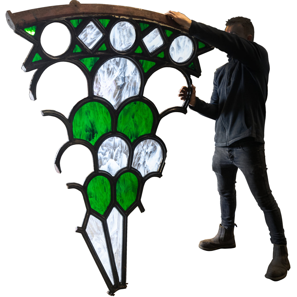 Magnificent Antique Domed Cast Iron Skylight with Stained Glass (3.5m) | The Architectural Forum