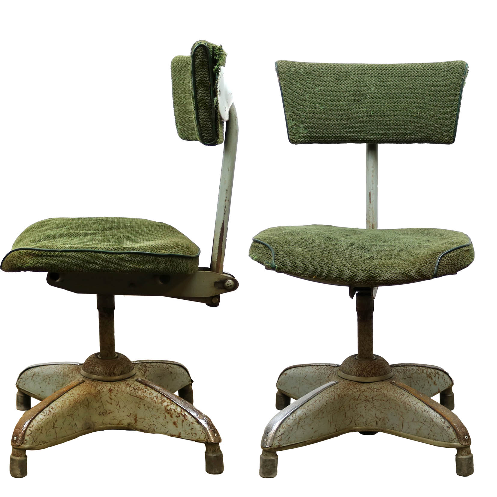 Vintage Green 1950's Industrial Swivel Office Chair