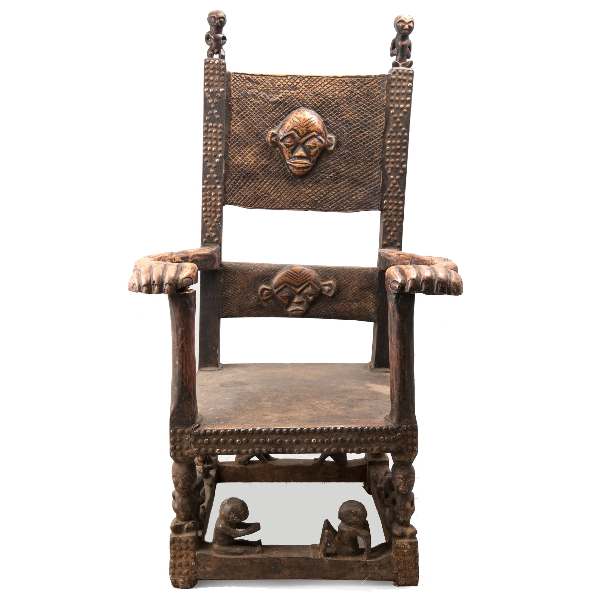 African Tribal Carved Wooden Fertility Chair