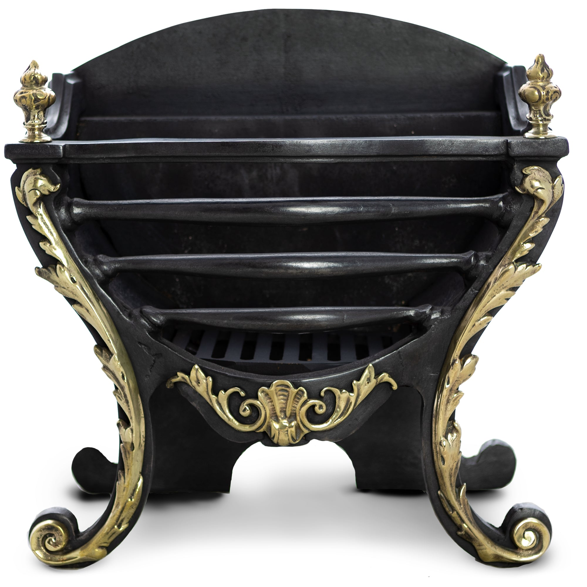 Antique Victorian Fire Basket With Decorative Ornate Brass | The Architectural Forum