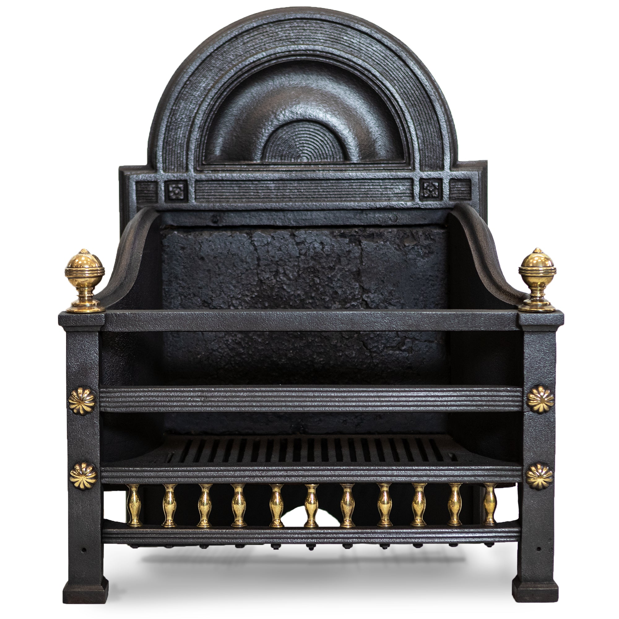Antique Cast Iron Fireplace Basket With Brass Finials | The Architectural Forum