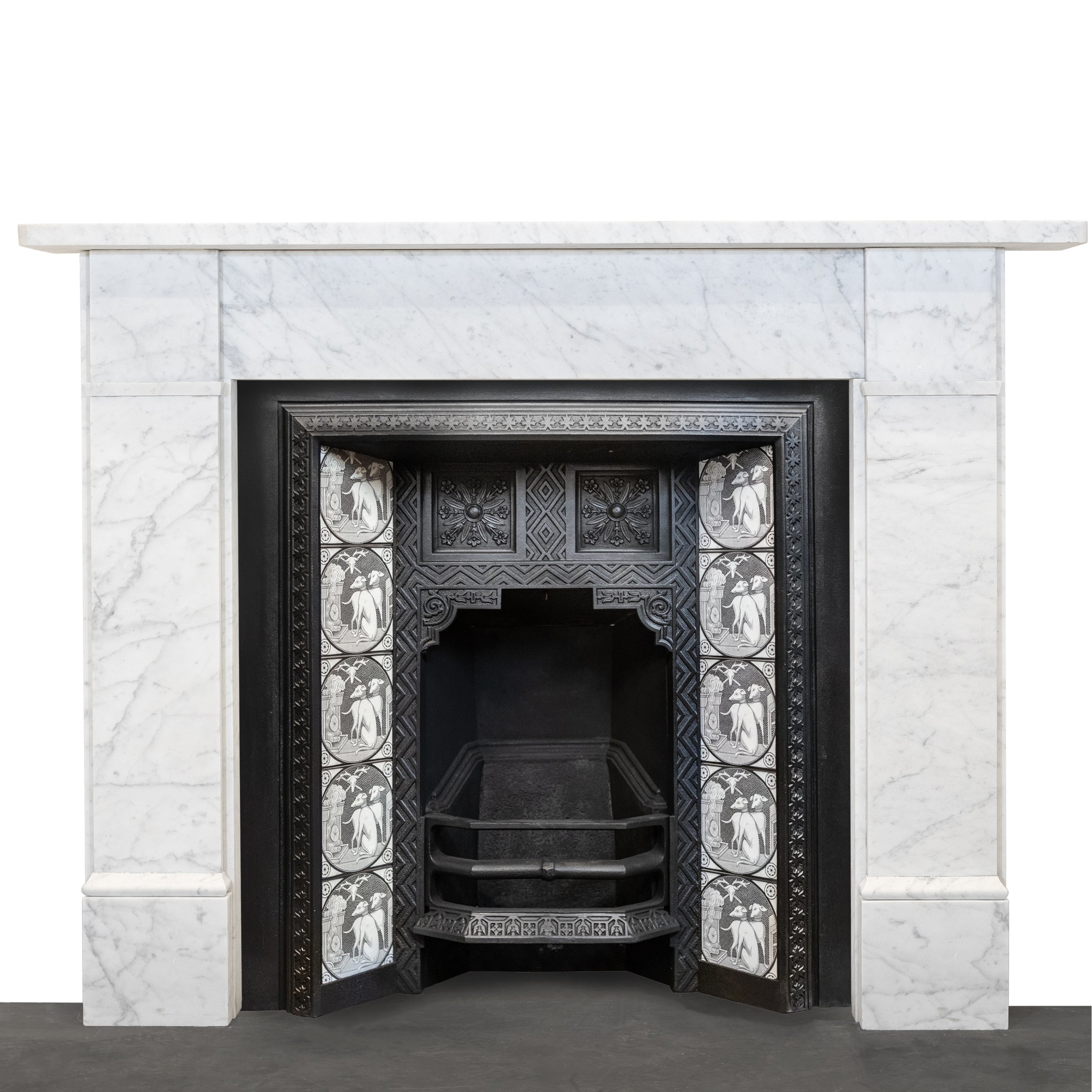 Victorian Style Fireplace Surround Crafted from Reclaimed Carrara Marble