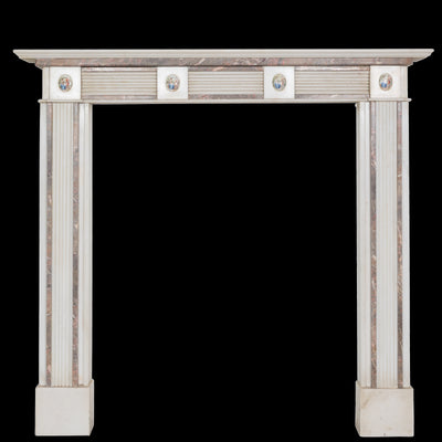 Regency Style Statutory & Rouge Royal Marble Fireplace Surround