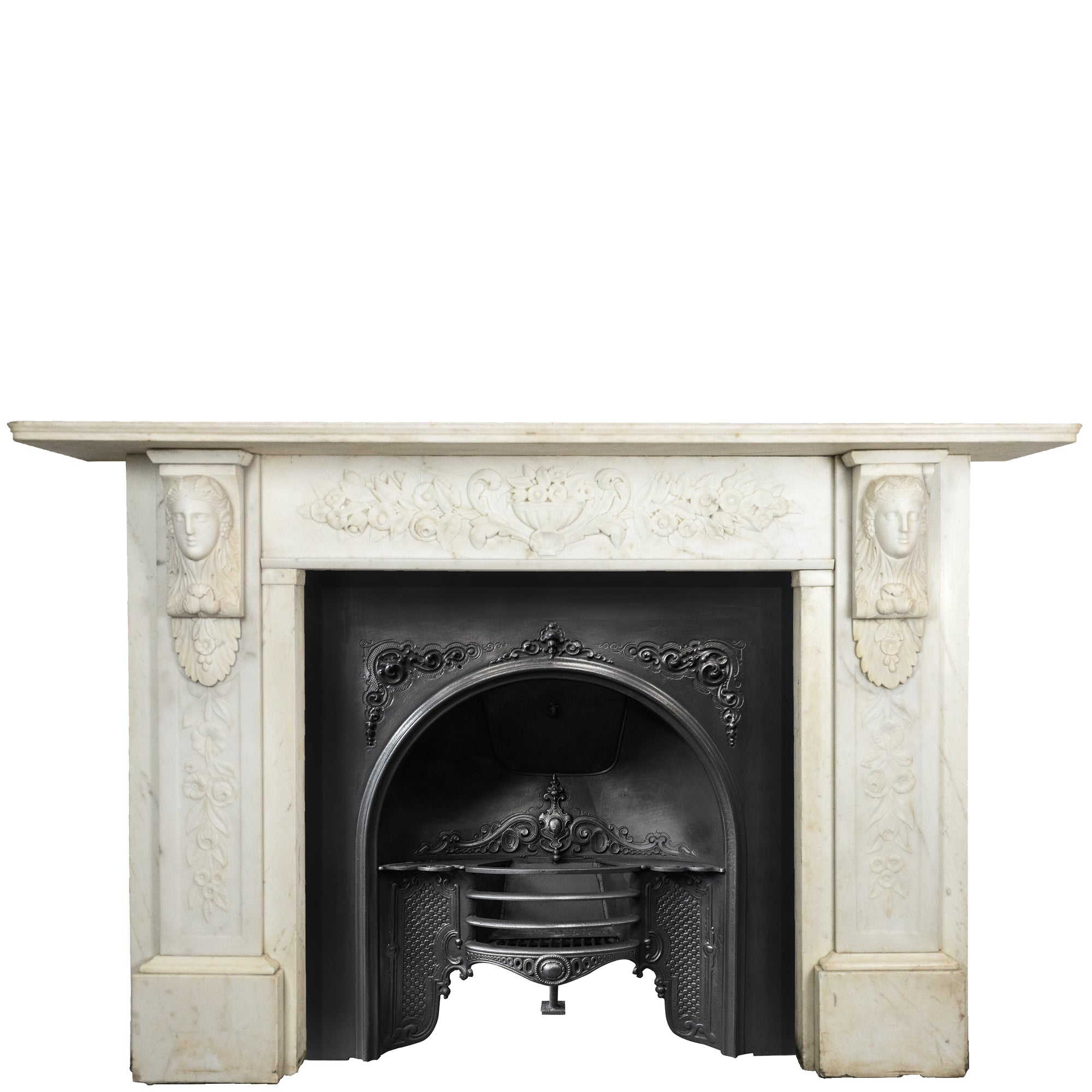 Grand Antique Victorian Statuary Marble Carved Chimneypiece