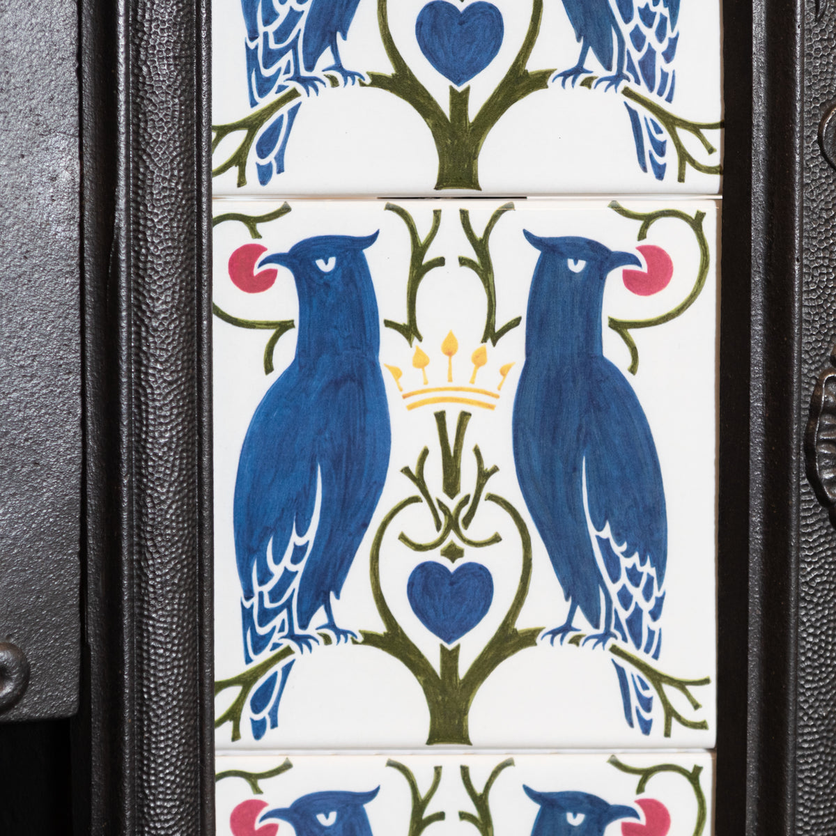 Antique Victorian Cast Iron Insert With Vibrant Blue Bird & Floral Tiles | The Architectural Forum