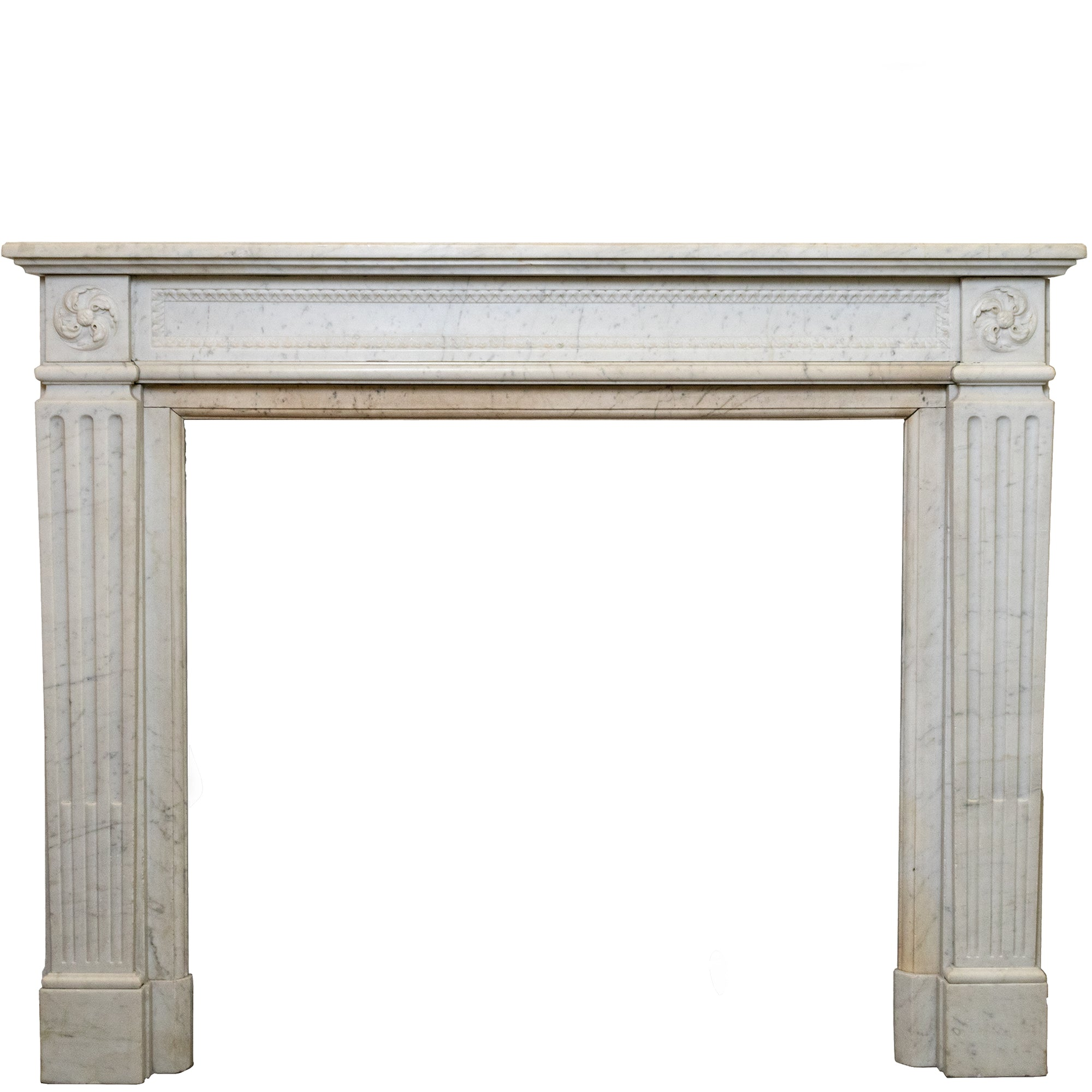 Antique Carrara Marble Louis XVI Style Chimneypiece