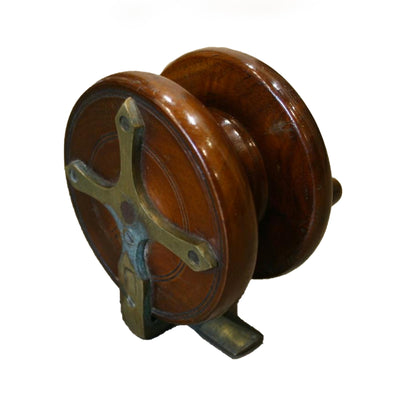 Vintage mahogany fishing reel