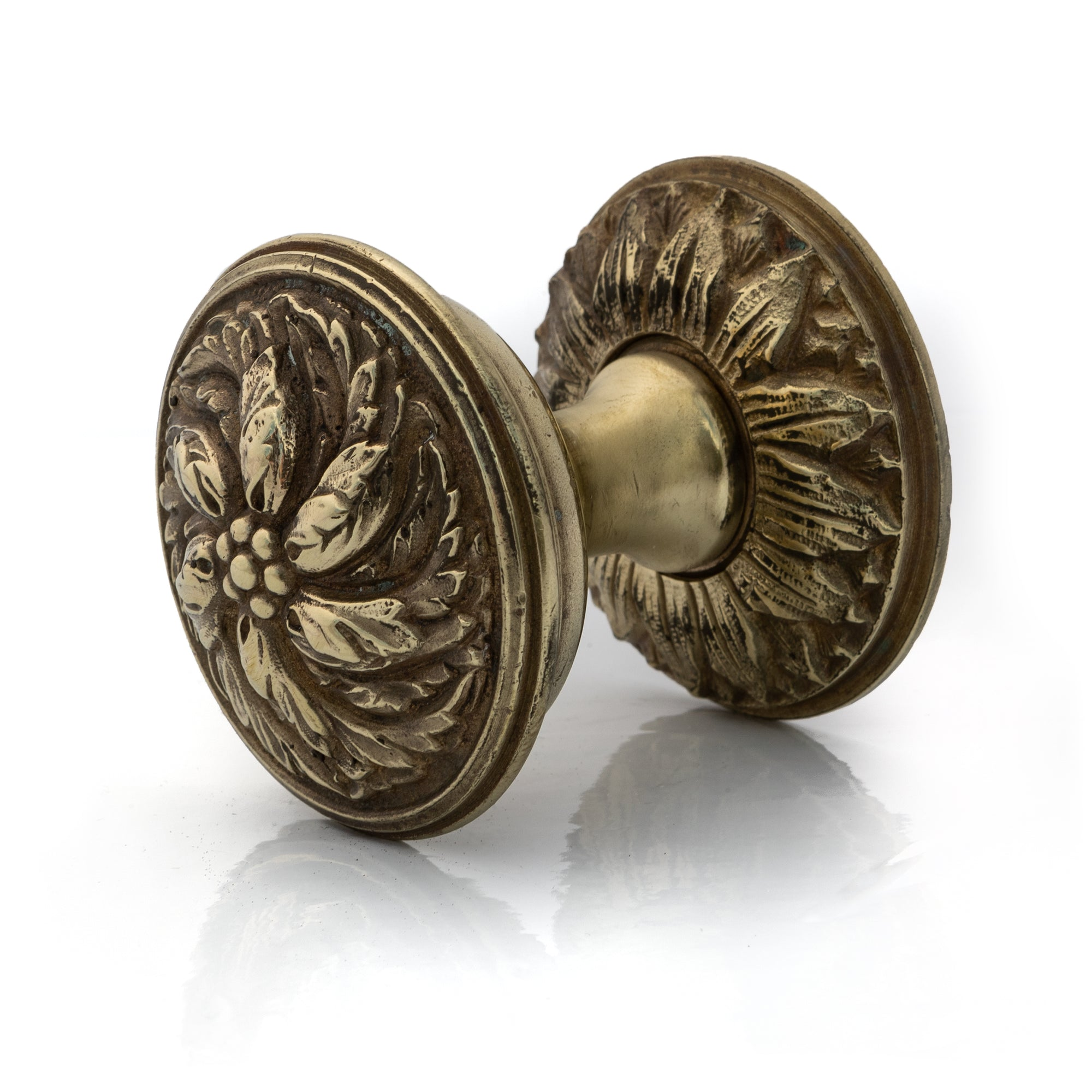 Antique Solid Brass Ornate Floral Door Knob | The Architectural Forum