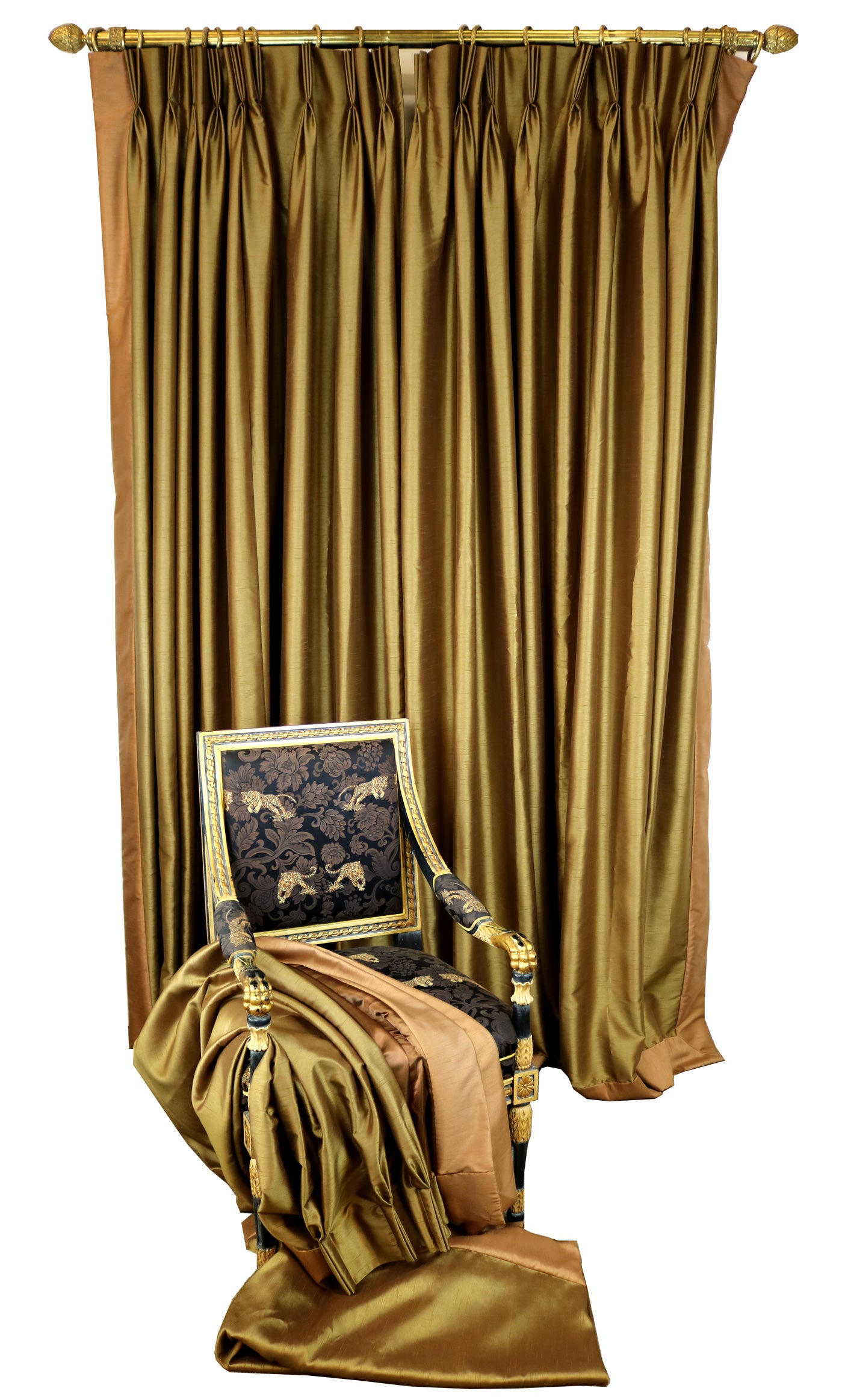 Brushed Silk Bronze Curtains