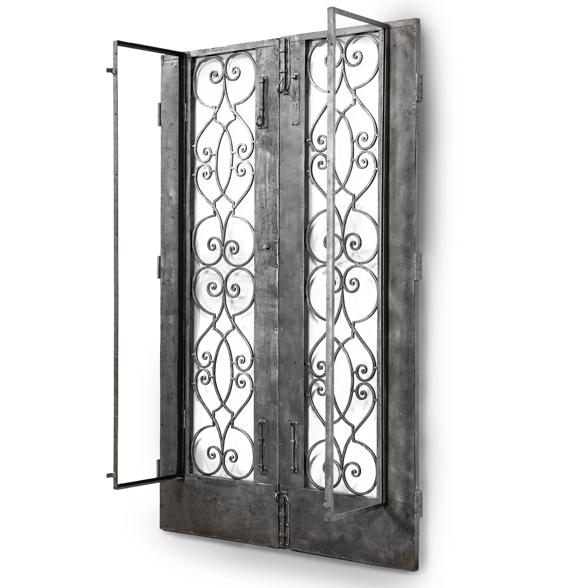 Antique pair of decorative iron doors