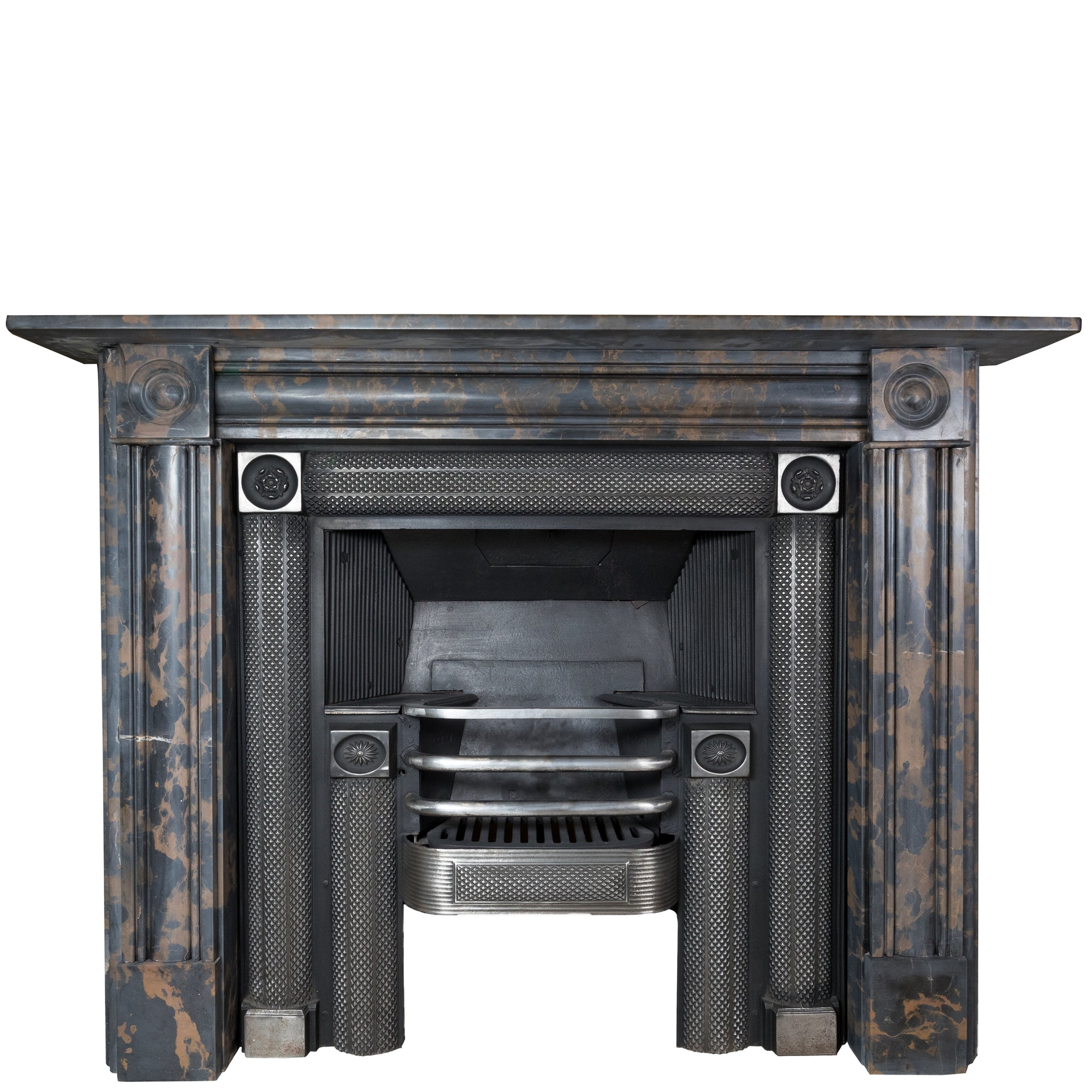 Portoro Marble Georgian Regency Style Bullseye Fireplace Surround