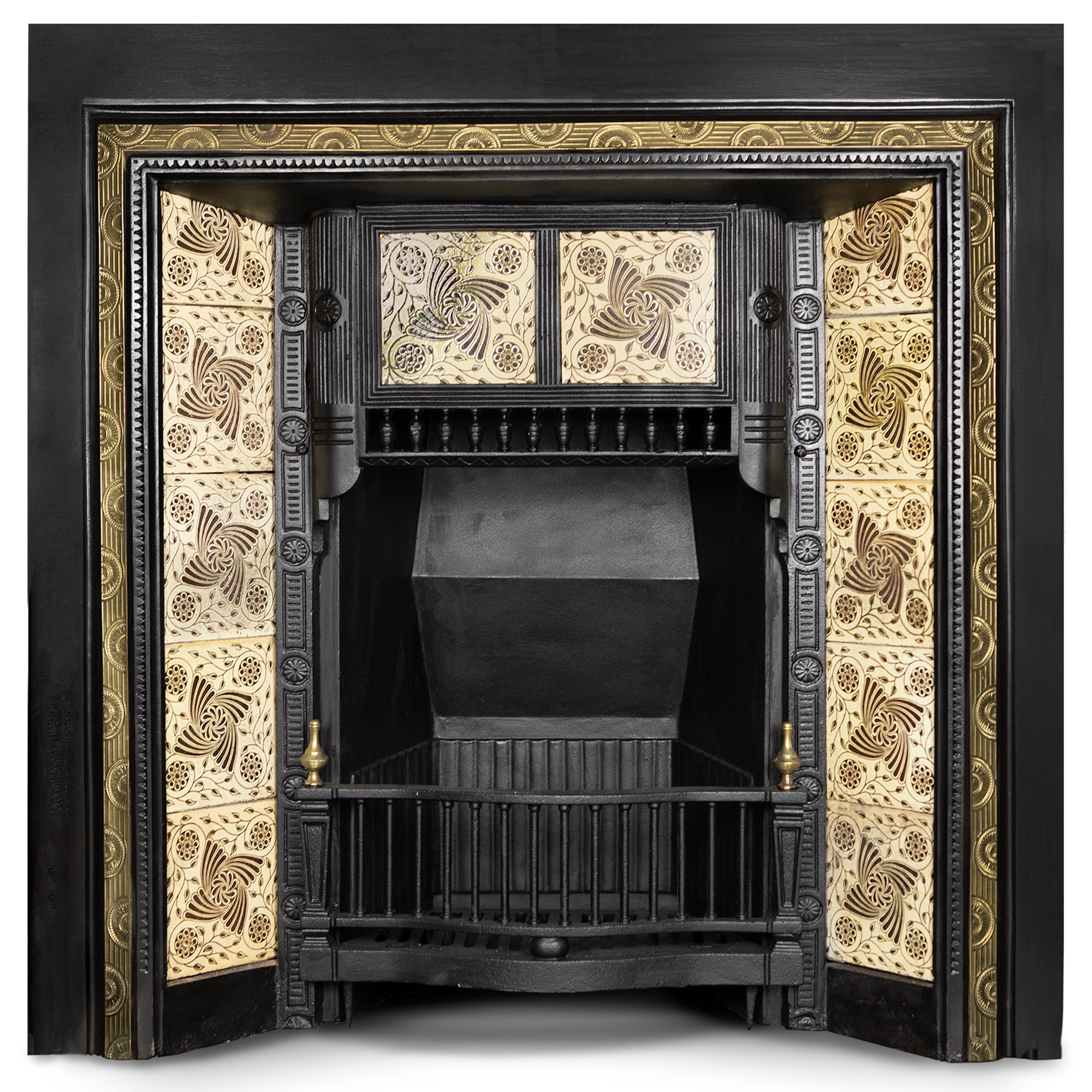 Antique Tiled Fireplace Insert with Decorative Brass Border