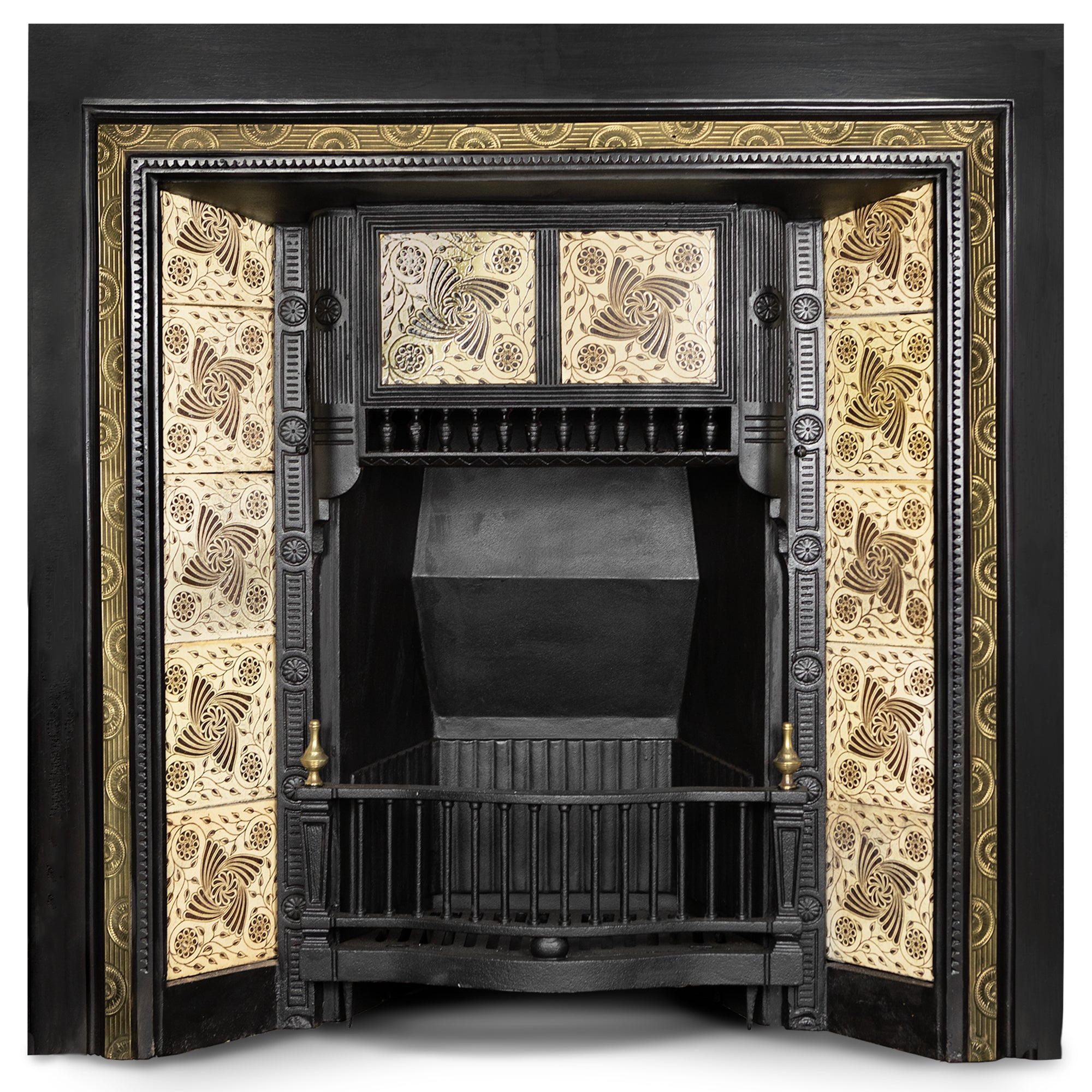 Antique Tiled Fireplace Insert with Decorative Brass Border | The Architectural Forum