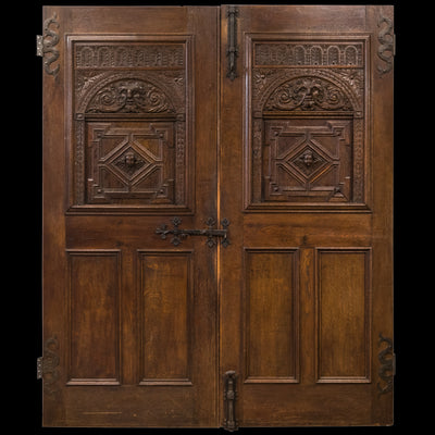Mid 19th Century Hand Carved Oak Double Doors