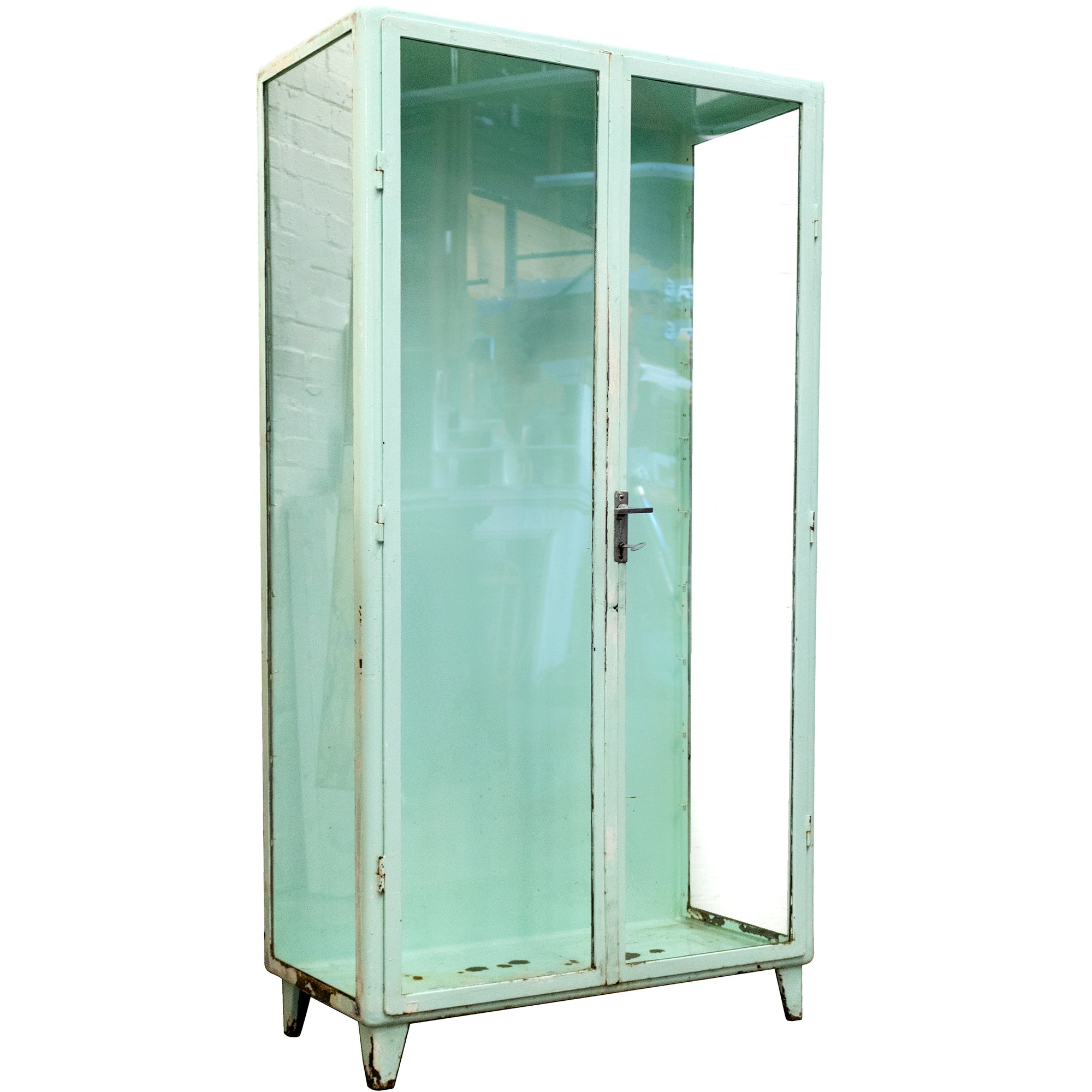Mid-Century Industrial Steel Vitrine Glass Display Cabinet