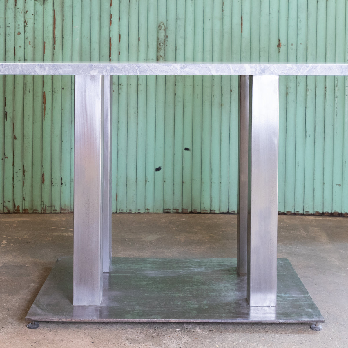 Steel Table with Reclaimed Grey Marble from Scotland Yard | The Architectural Forum