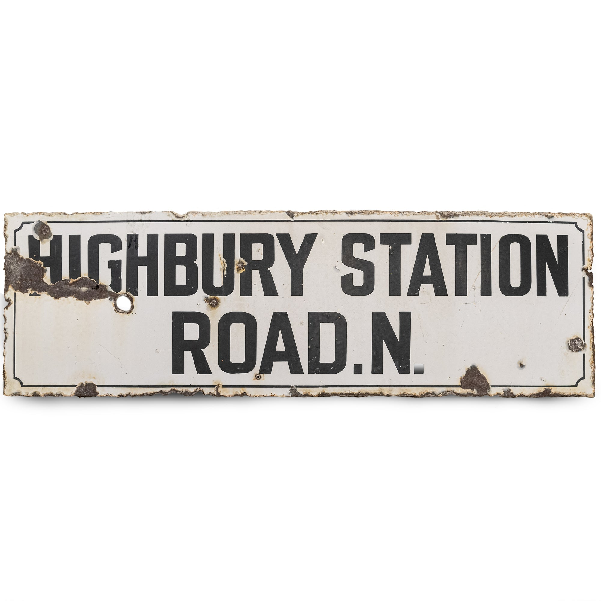 Antique London Street Sign: Highbury Station Road