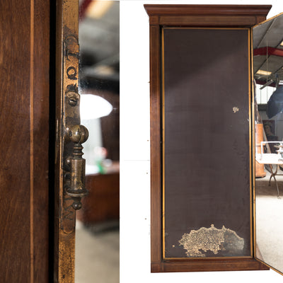 Antique French Inlaid Mahogany & Brass Brot Triptych Dressing Mirror - architectural-forum