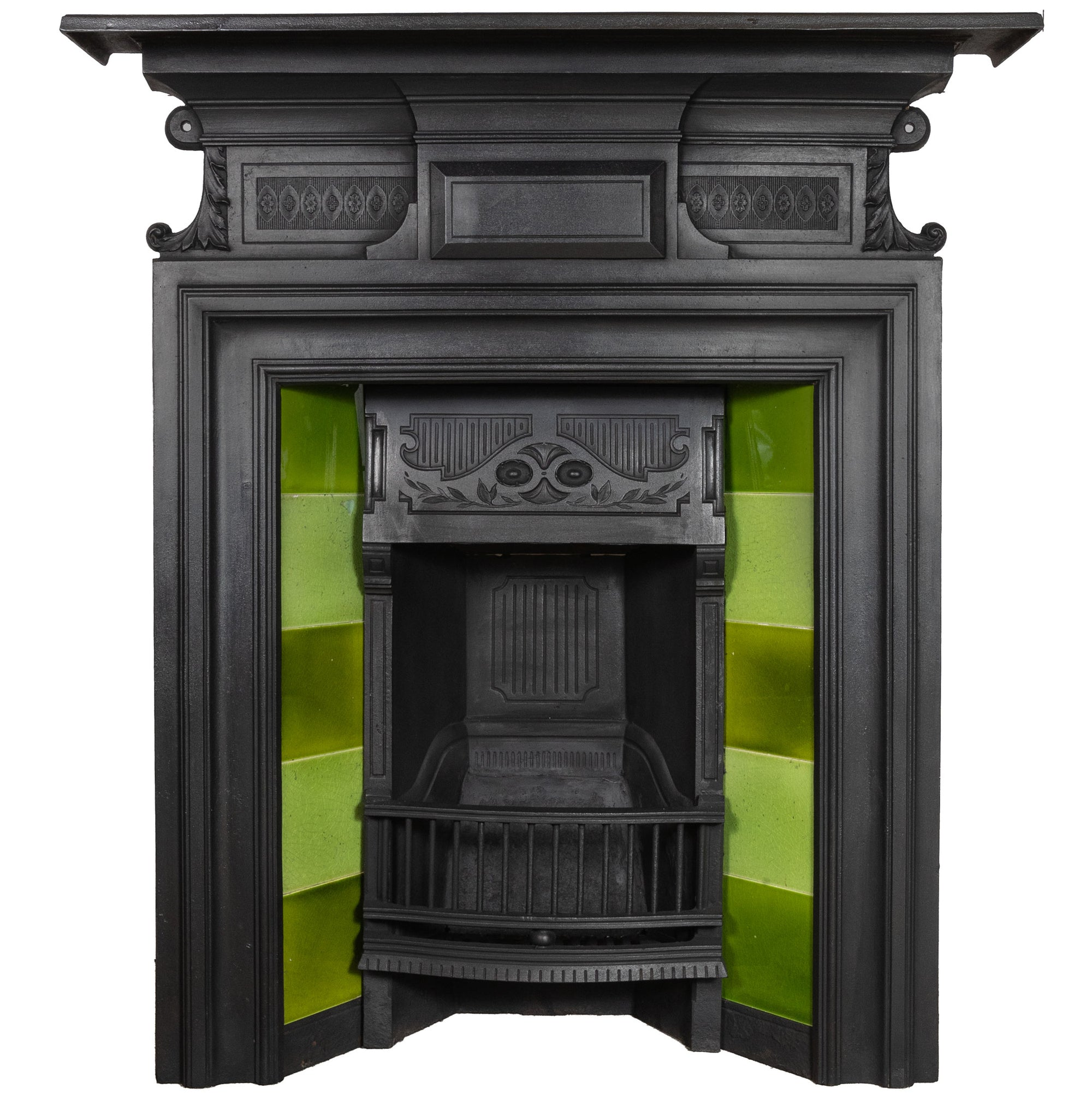 Antique Cast Iron Tiled Combination Fireplace - architectural-forum
