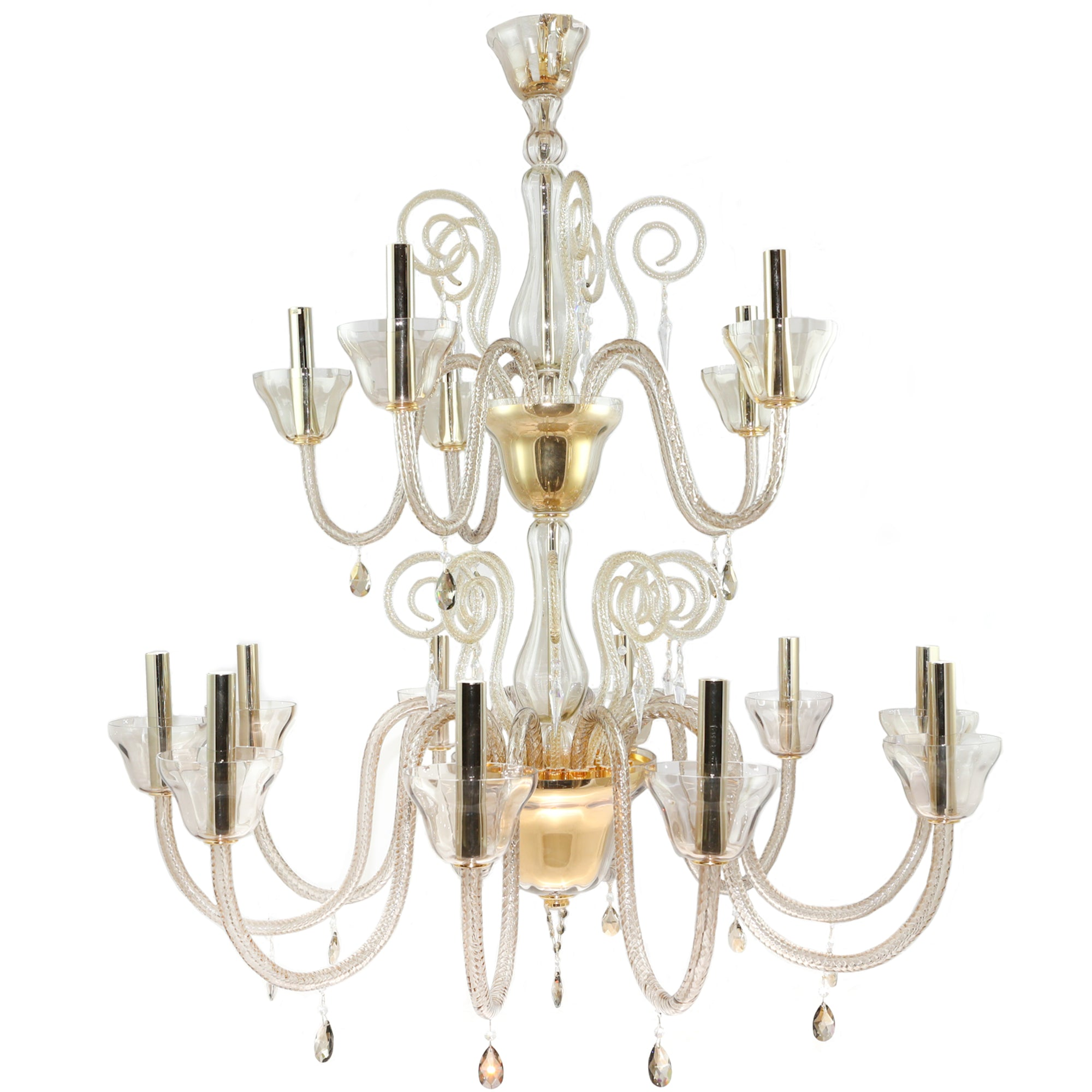 Reclaimed BEBY Italy Murano Glass Chandelier