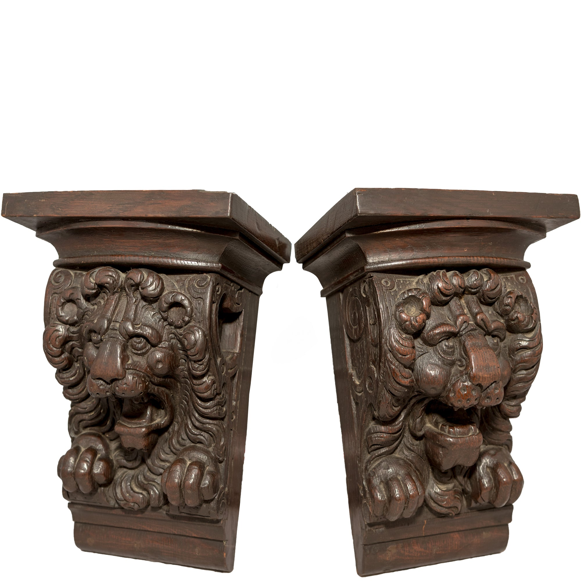 Antique Carved Wooden Gothic Lions Head Corbels