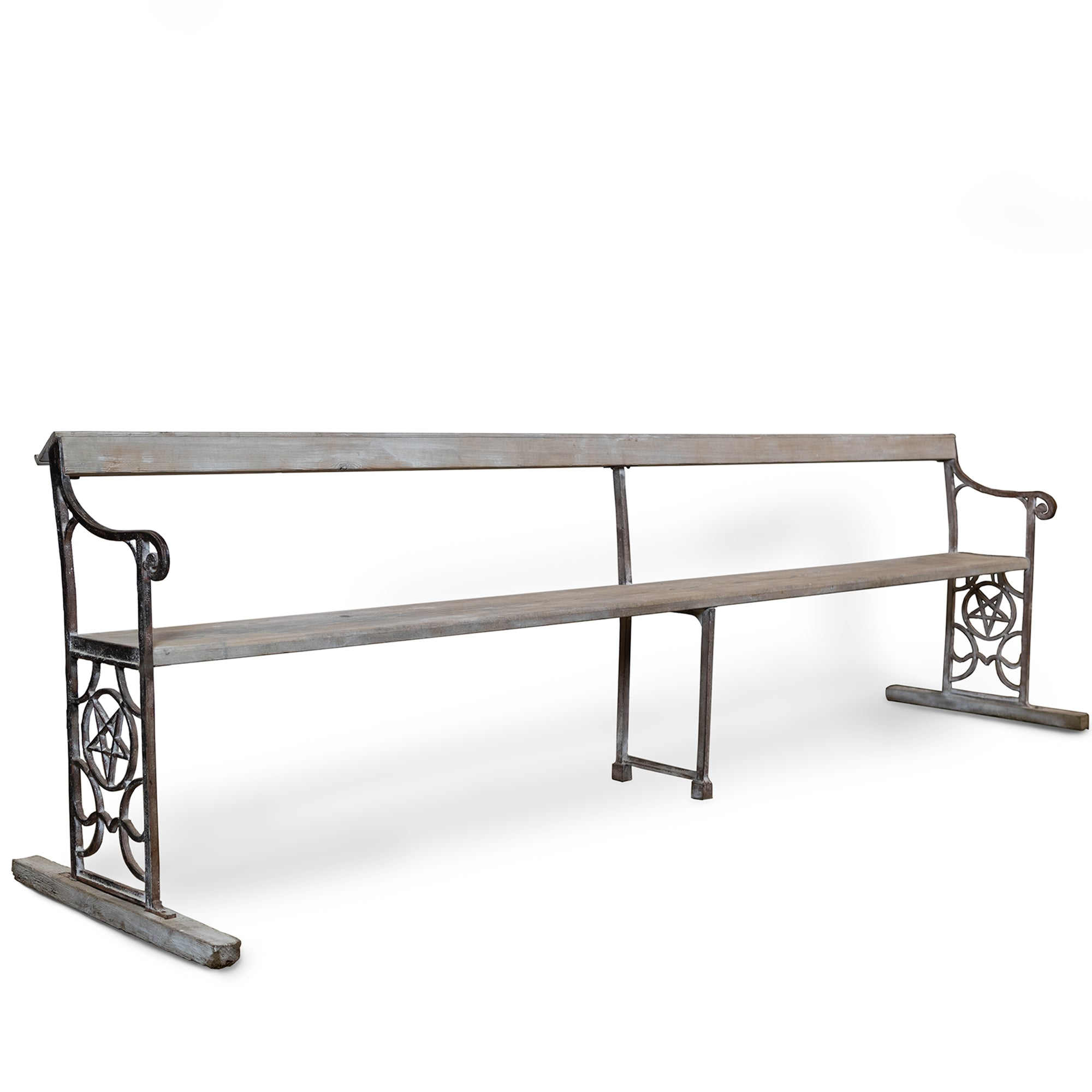 Reclaimed Cast Iron Long Bench with Pentagram | The Architectural Forum