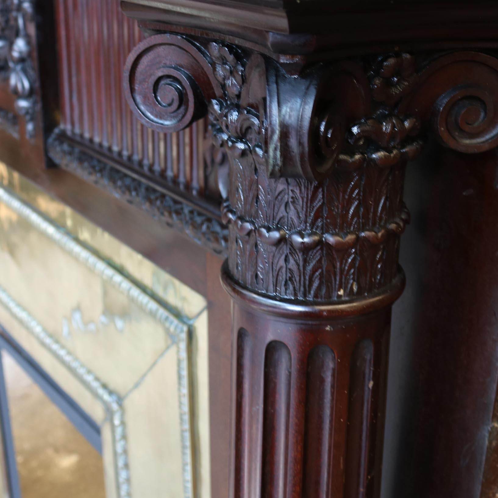 Antique Mahogany Fireplace with Brass Insert