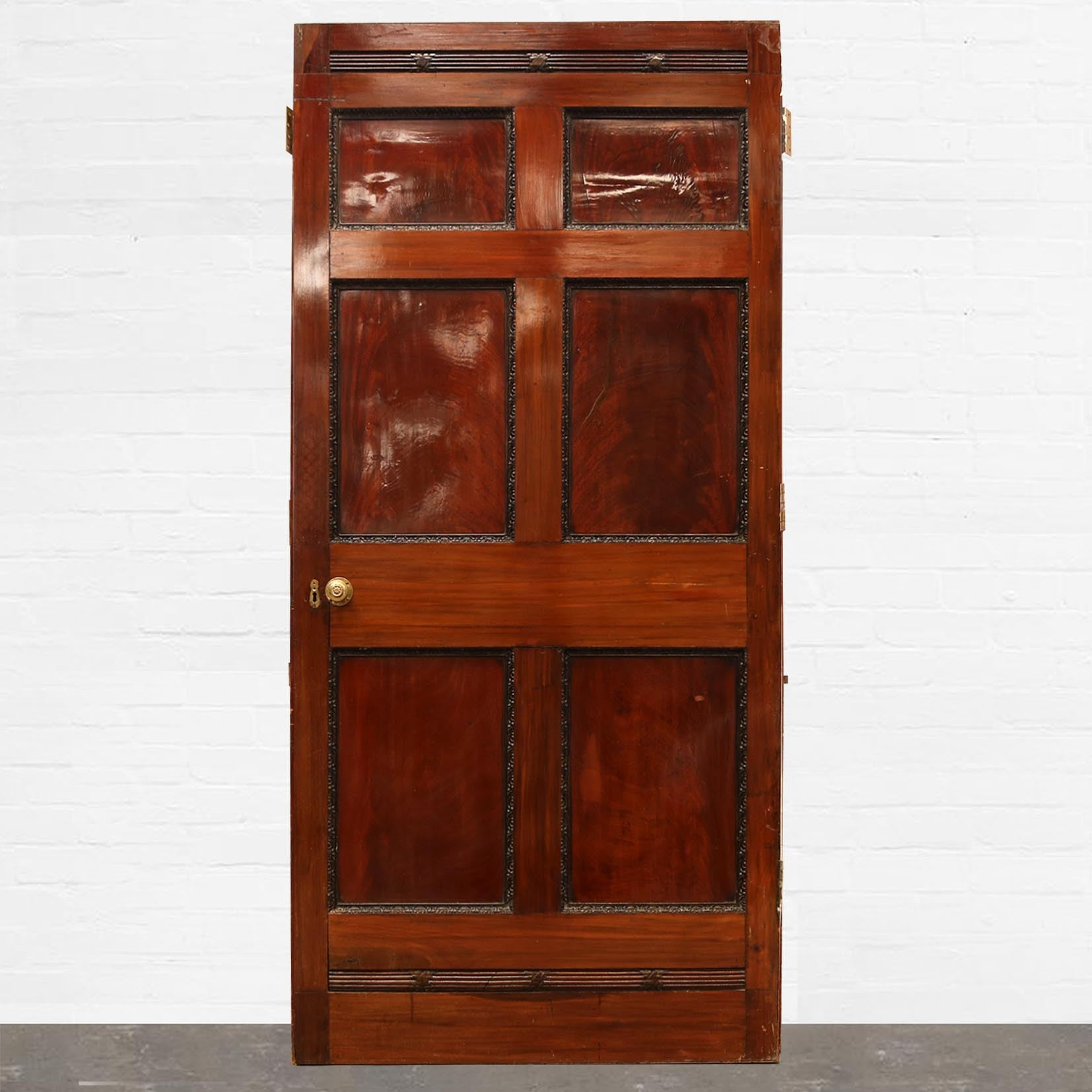 Antique Georgian Flame Mahogany Six Panel Door - 107cm x 226cm - The Architectural Forum