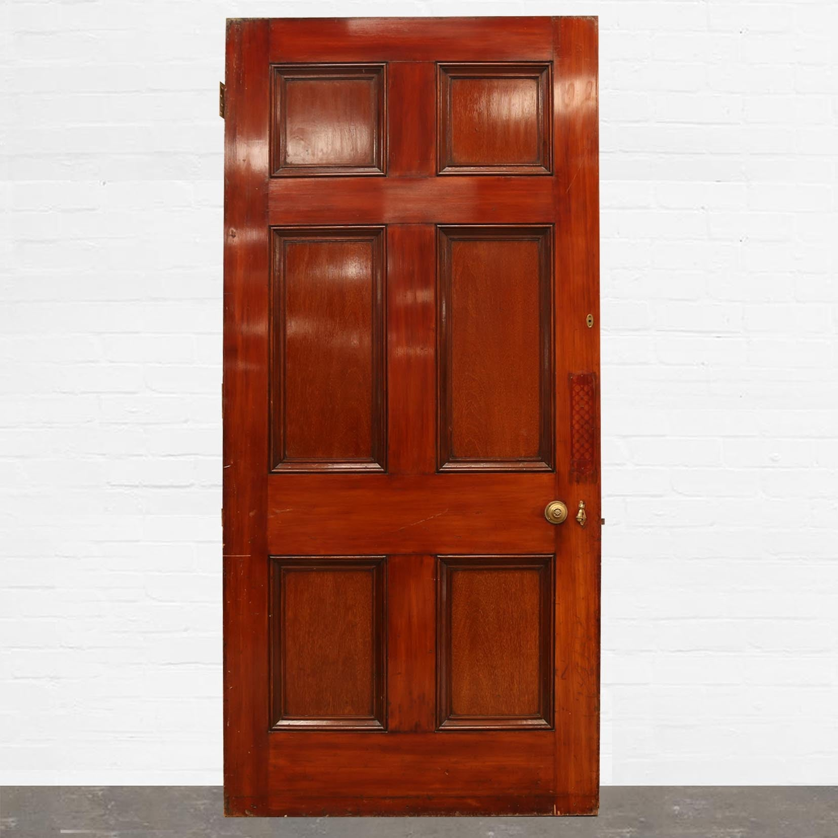 Antique Georgian Mahogany Six Panel Door - 105cm x 225.5cm - architectural-forum