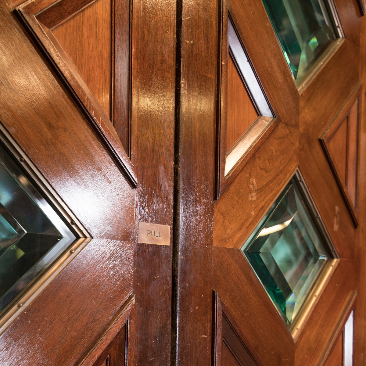 Solid Mahogany Double Doors with Diamond Glazing