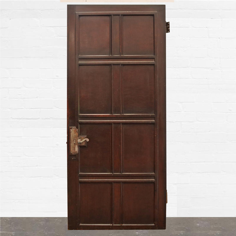 Antique Georgian Flame Mahogany Panelled Door -209cm x 91cm - The Architectural Forum