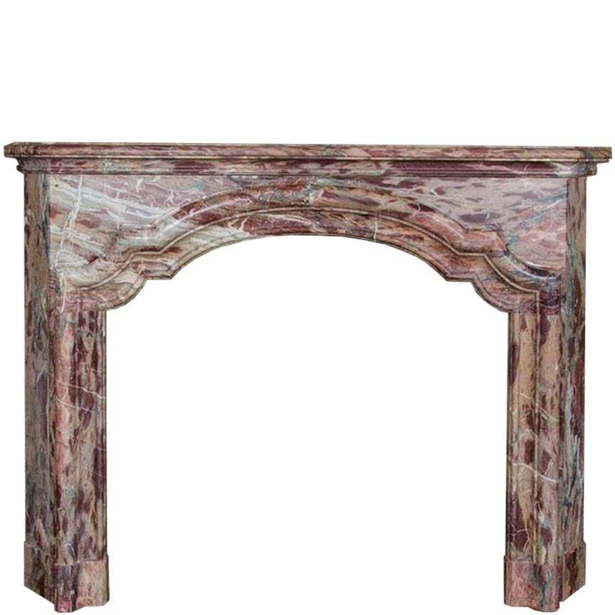 Antique French Sarancolin Marble Fireplace Surround