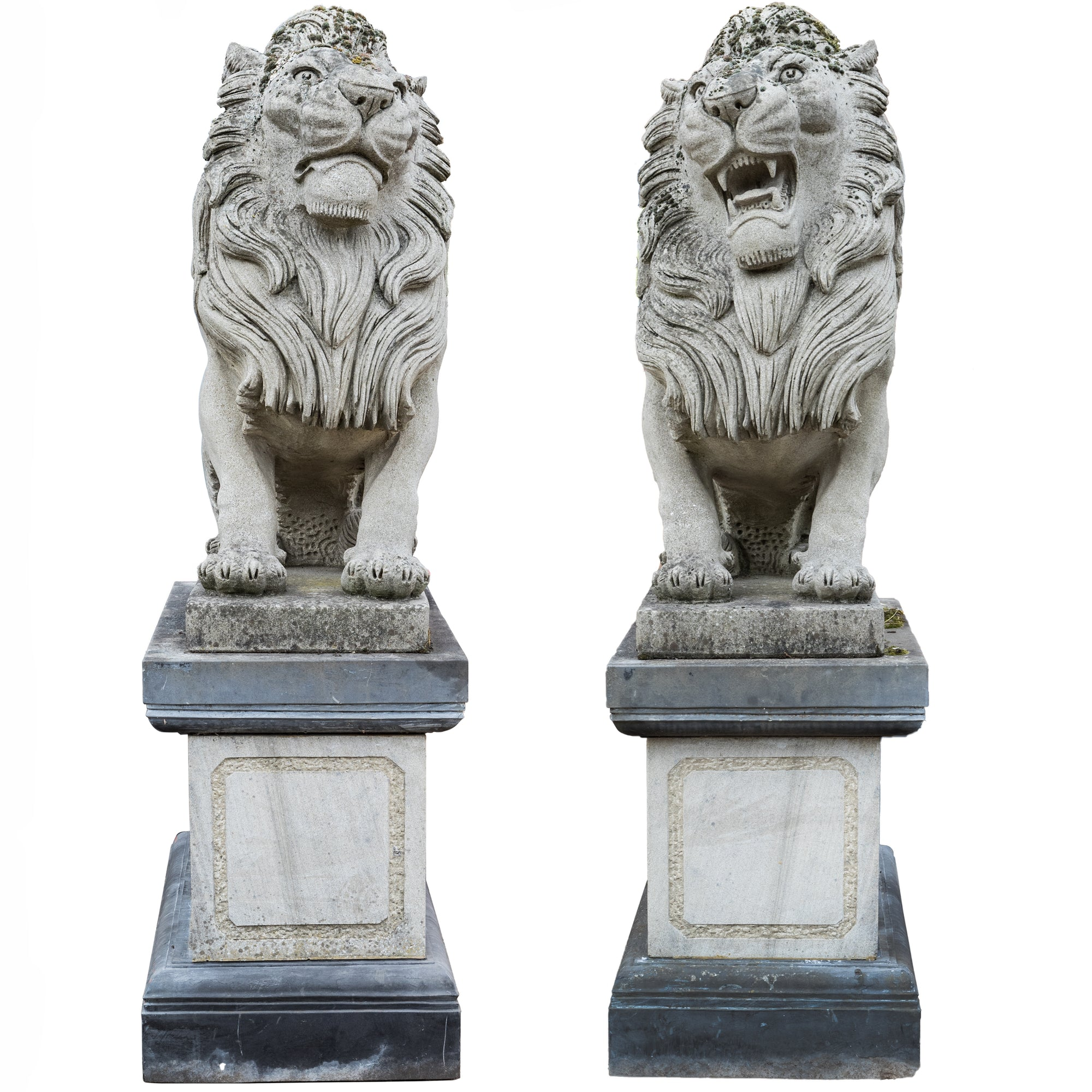 Reclaimed Pair of Monumental Stone Lions on their own Plinth