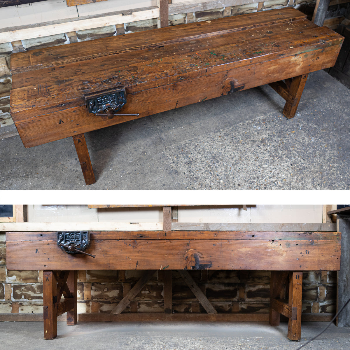 Industrial Antique Solid Pine Workbench | The Architectural Forum