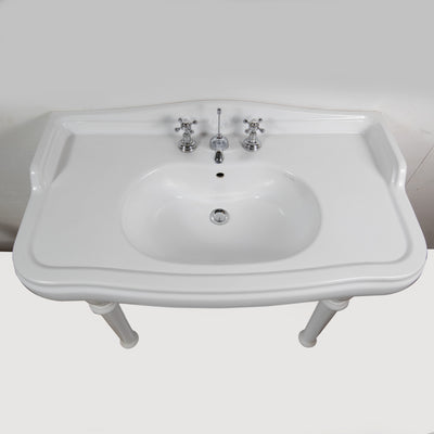 Reclaimed Pierre Cardin Porcelain Sink with Legs - architectural-forum