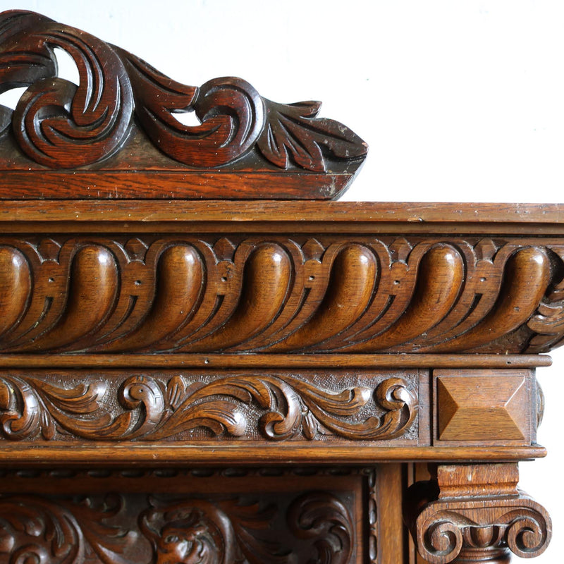 Victorian Carved Oak Overmantel