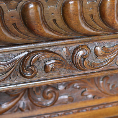 Victorian Carved Oak Overmantle