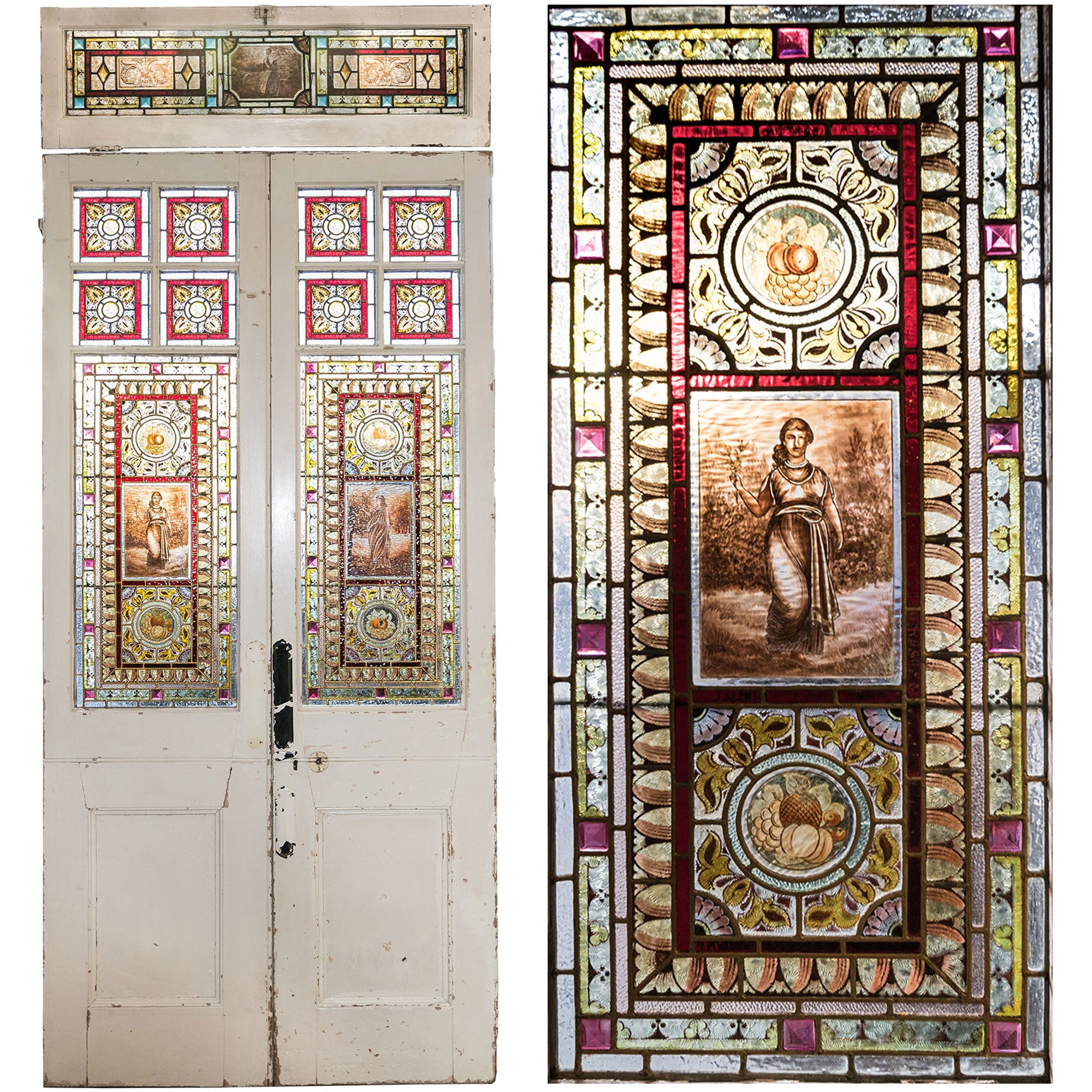 Antique Victorian Stained Glass Double Doors | Peace & Plenty