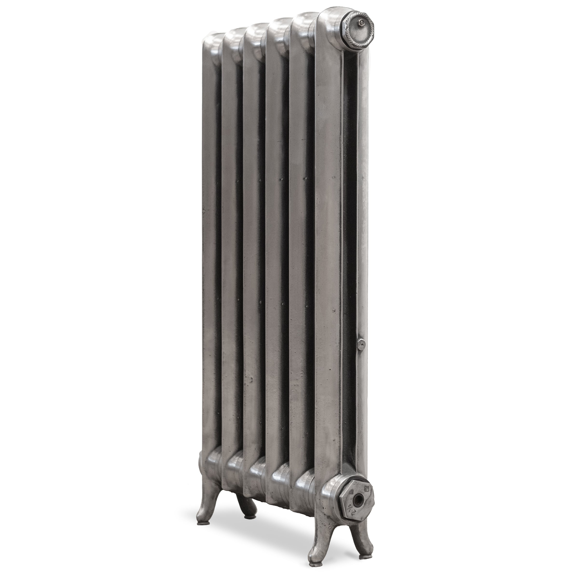 Fully Restored Cast Iron Two Column Radiator , Hand Polished Silver