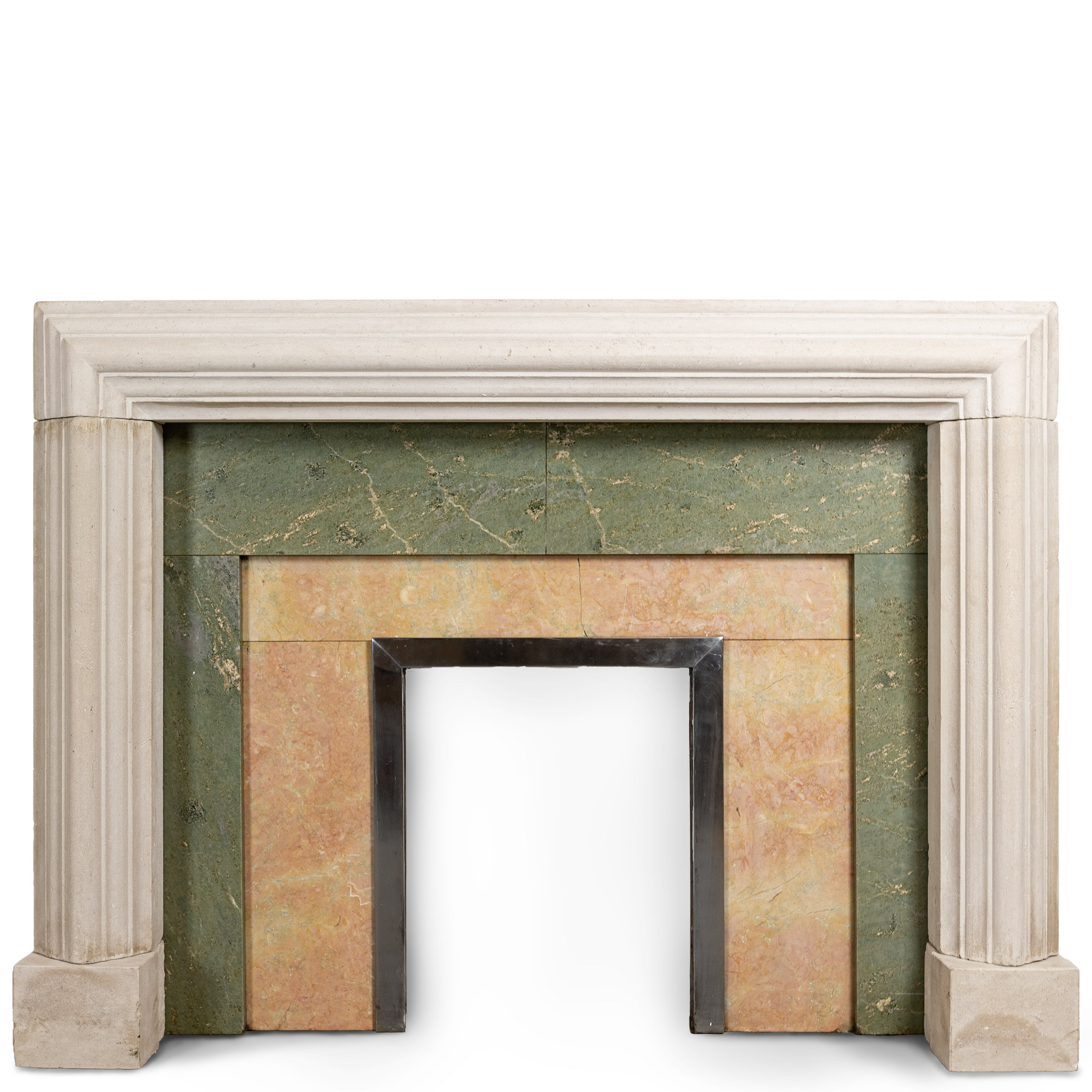 Striking Art Deco Portland Stone Bolection Fireplace Surround with Marble Inserts.